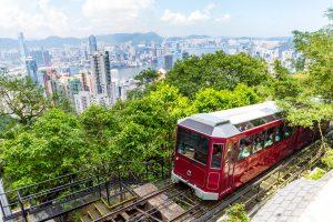 Victoria Peak Tram and Hong Kong city skyline