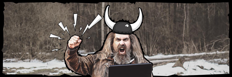 Viking z laptopem wołający Pokłady Internetu Mobilnego